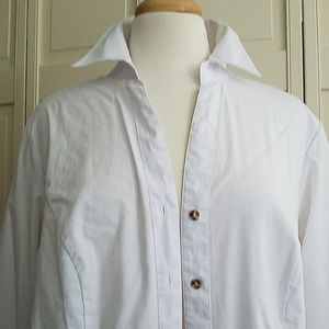Larry Levine button down blouse white 1X